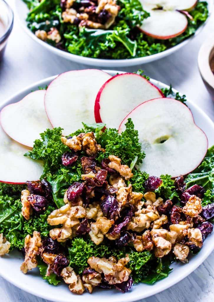 kale salad with warm apple cinnamon balsamic