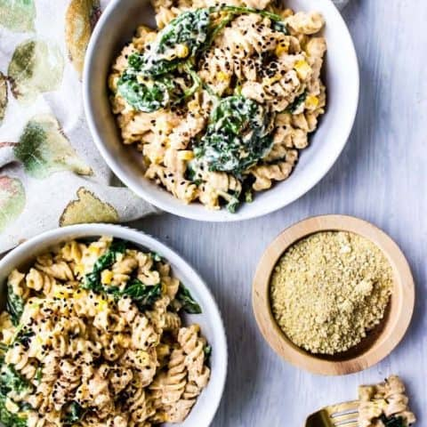 Pumpkin Alfredo with Spinach + Corn