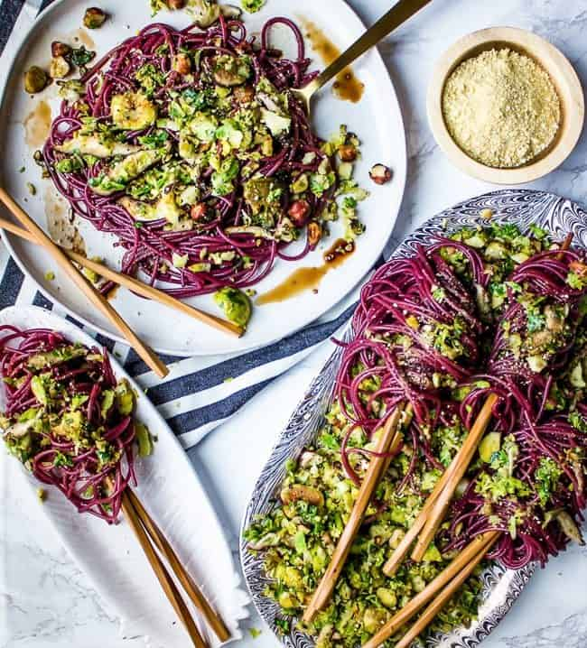 boozy noodles with warm brussels slaw