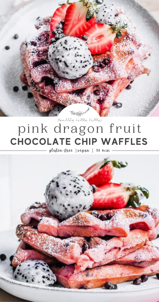 Pink Dragon Fruit Chocolate Chip Waffles pInterest graphic