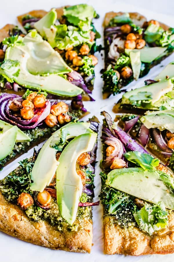 kale, crispy chickpea, caramelized red onion pizza with sweet potato crust