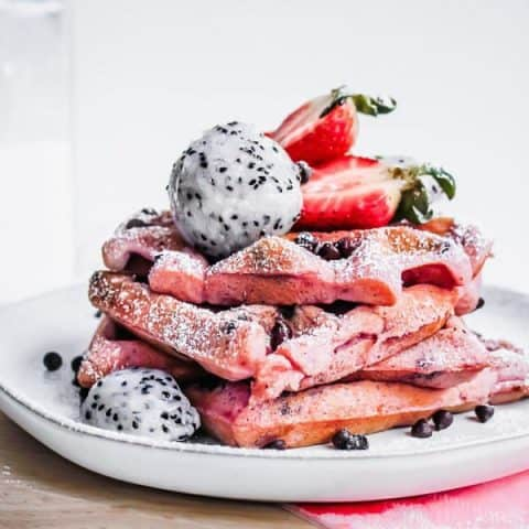Pink Dragon Fruit Chocolate Chip Waffles