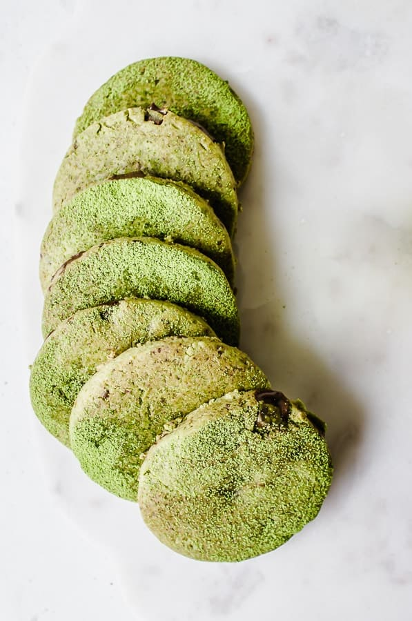 Chocolate chunk matcha shortbread cookies