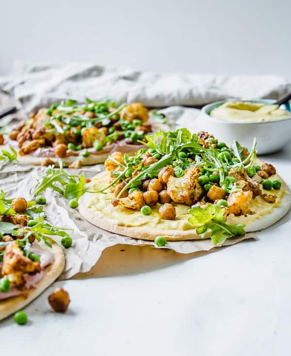 "Tandoori Cauliflower Pita Flatbreads with Tahini Cumin ""Yogurt"""