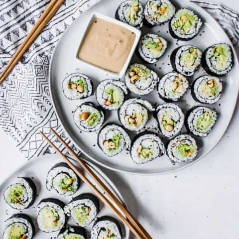 Avocado + Peanut Sushi with Peanut Maple Dipping Sauce