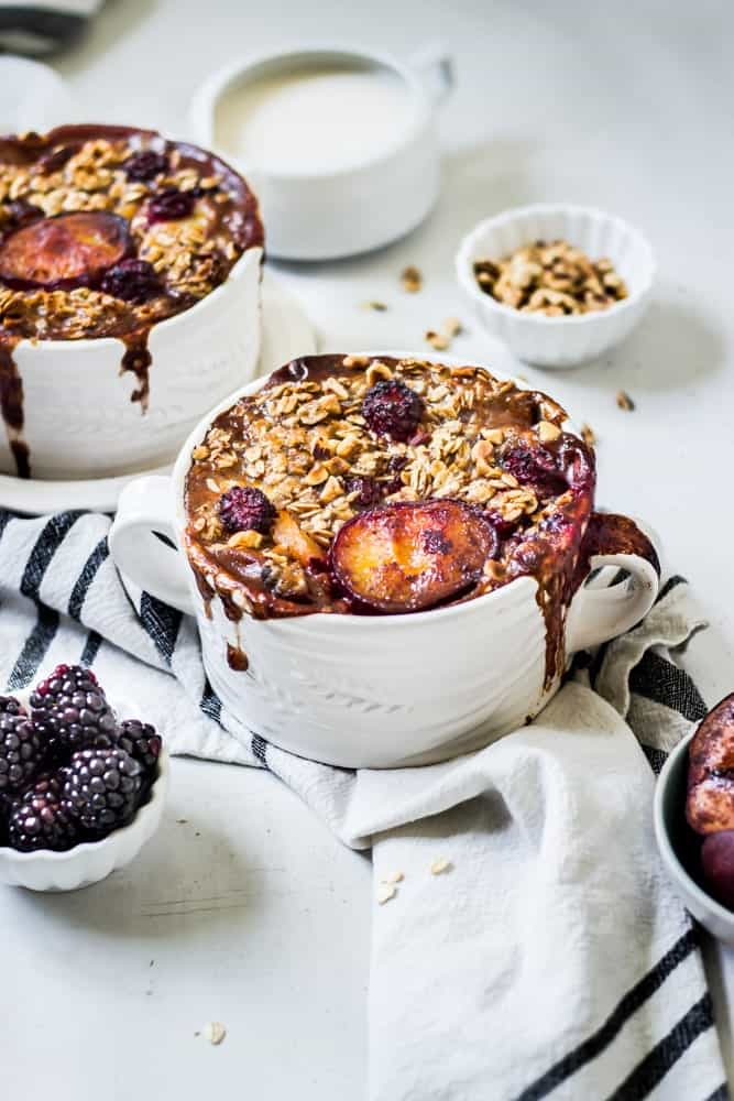 Roasted Plum and Blackberry Baked Oatmeal