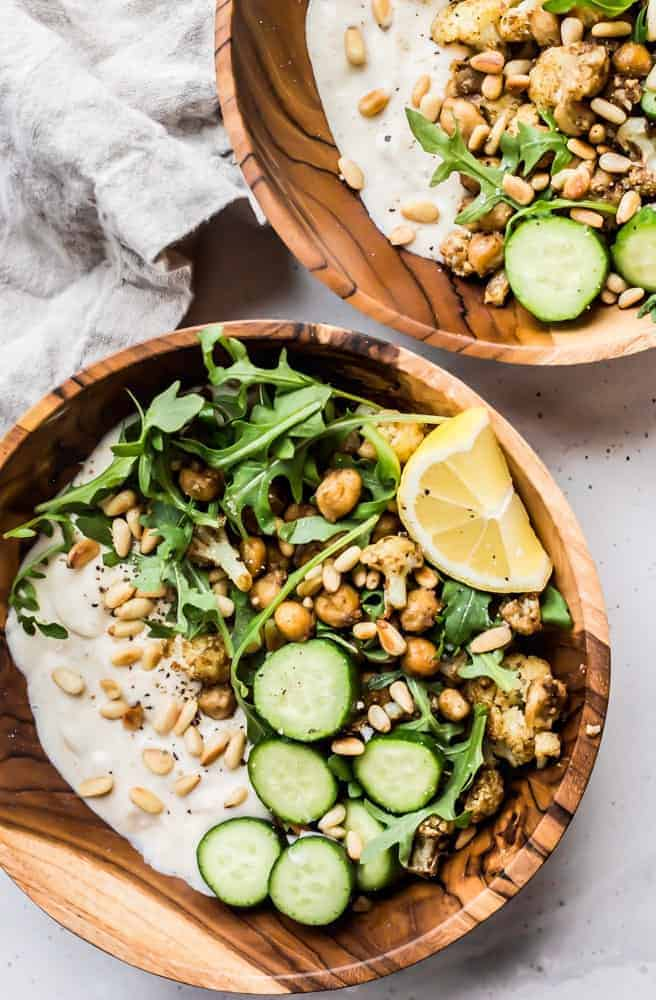 chickpea cauliflower arugula yogurt bowls