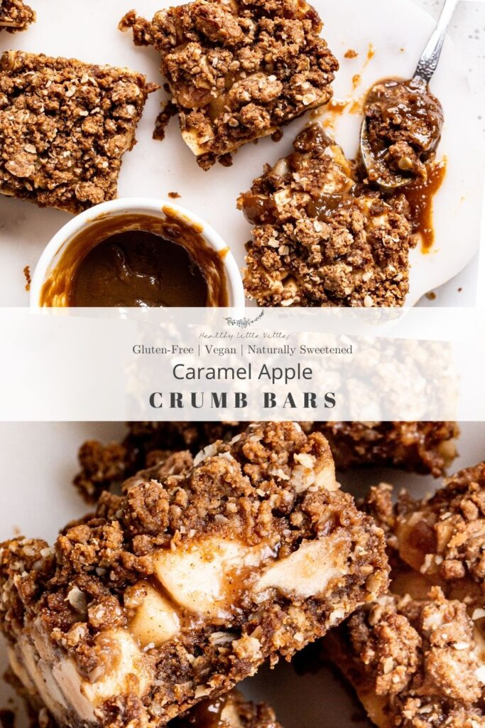 Pinterest image with two images of caramel apple crumb bars, the top one with a bowl of caramel and the bottom image is a close up of the bars