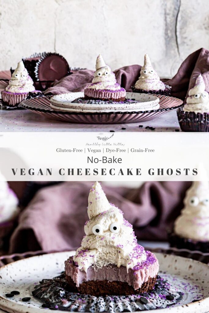 Pinterest graphic with two photos of the cheesecake ghosts, a close up on the bottom with the title of the recipe in the middle