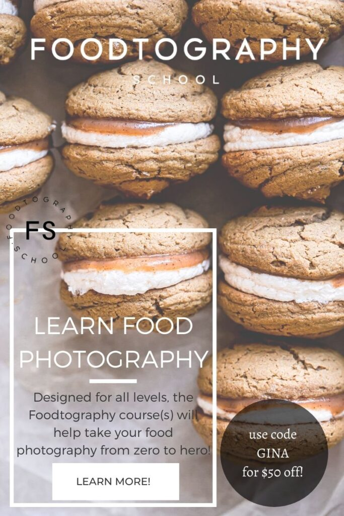 an image of whoopie pies with the text overlay promoting Foodtography School and a code to use GINA for $50 off