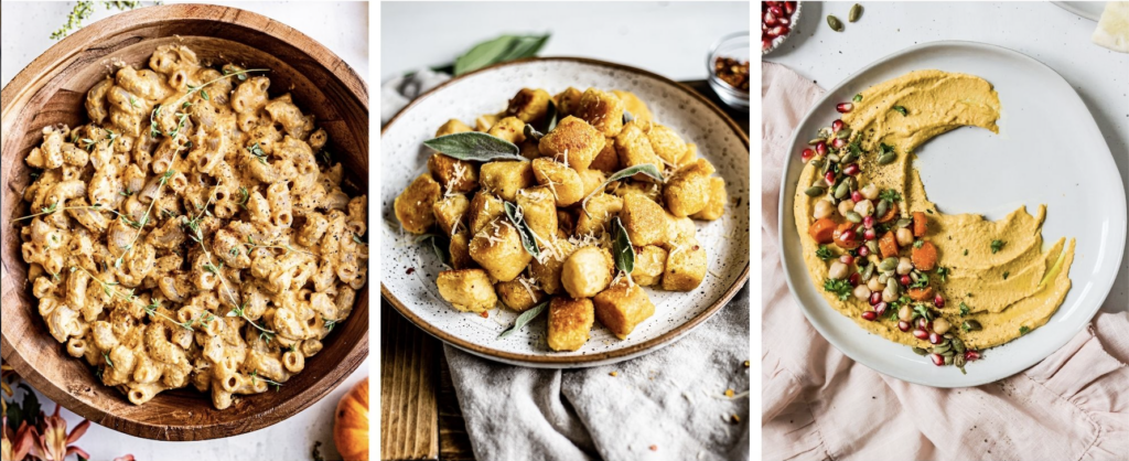 a collage of photos including pumpkin Mac and cheese, butternut squash gnocchi, roasted carrot hummus