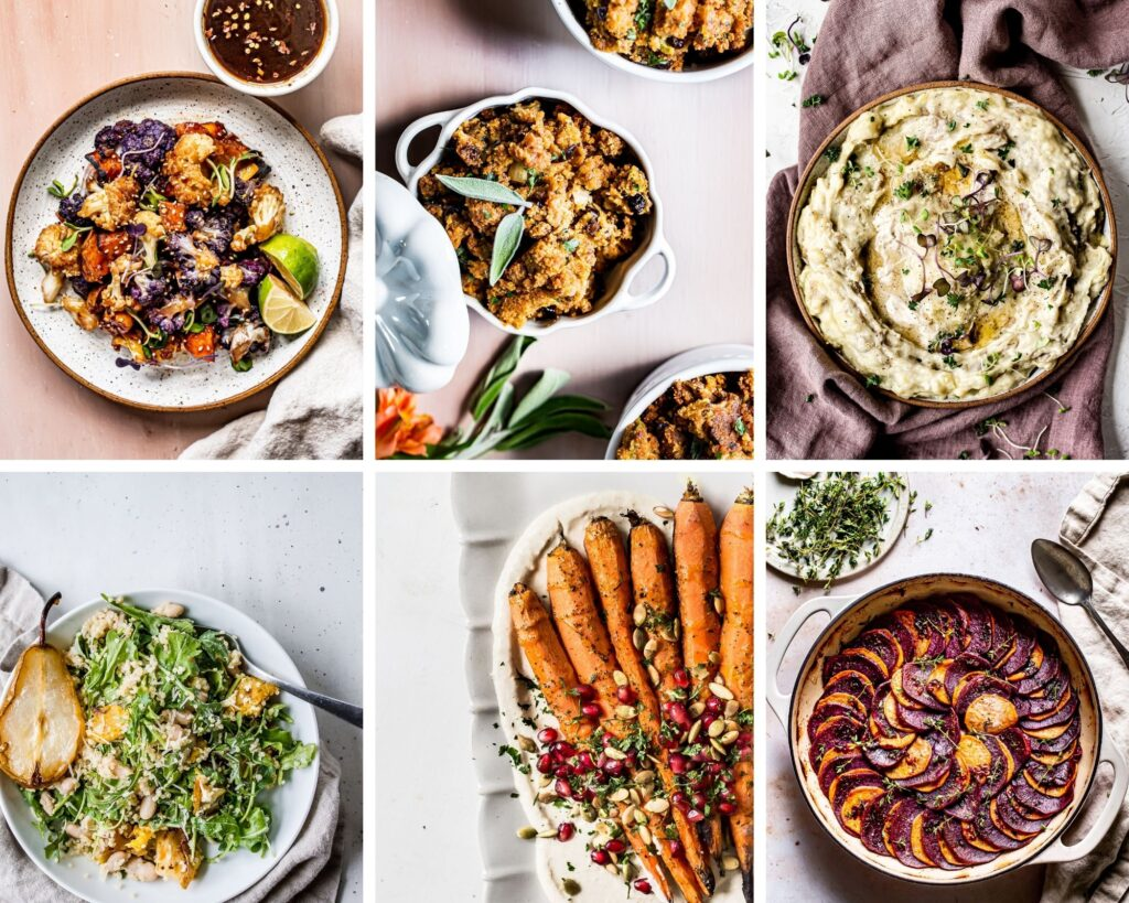 collage of thanksgiving side dishes like maple sriracha cauliflower, cornbread stuffing, mashed potatoes, roasted squash and pear arugula salad, roasted carrots, and browned butter bourbon skillet sweet potatoes
