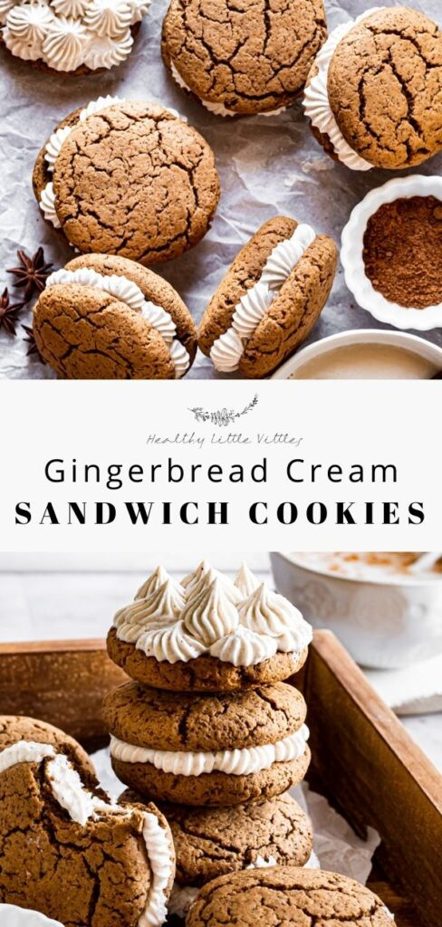 pinterest image of two photos of gingerbread cream sandwich cookies with the title of the recipe in the middle