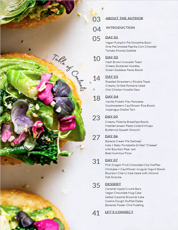7 day vegan challenge ebook table of contents