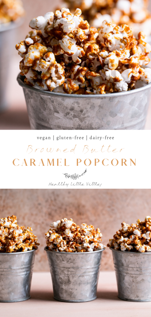 pinterest graphic of two images of caramel popcorn with the title in the middle