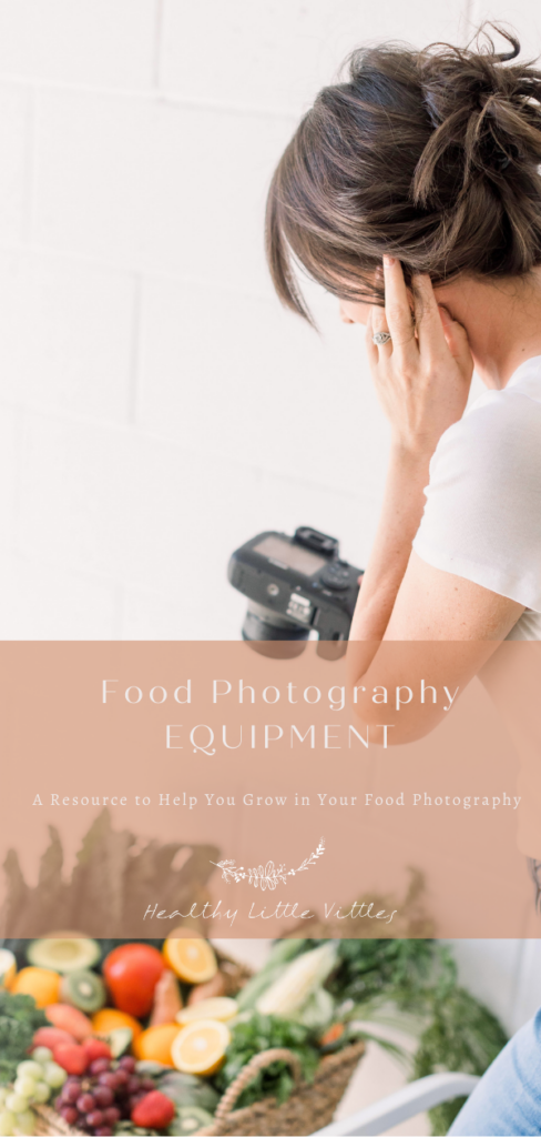 a photo of me taking photos of a veggie basket with text overlay that says food photography equipment to share on Pinterest