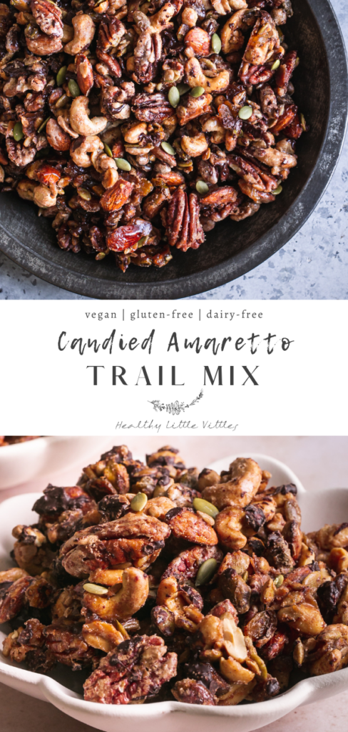 two photos of trail mix with the recipe title in the middle to share on Pinterest
