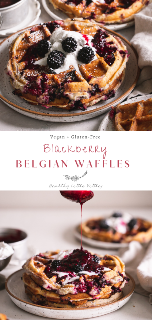 two photos of blackberry Belgian waffles with the recipe title in the middle to share on Pinterest