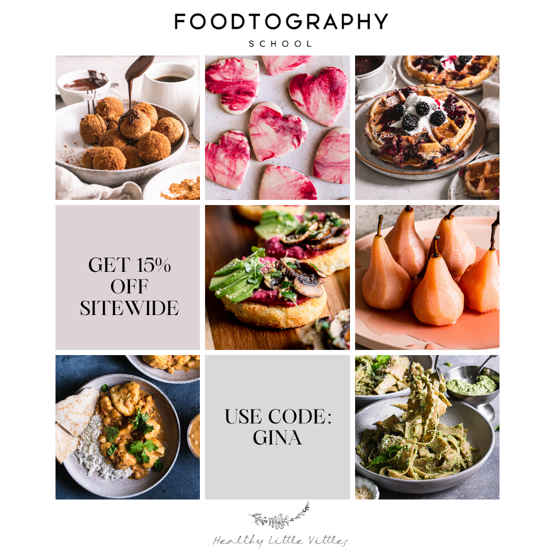 a collage of my food images with the code gina for 15% off