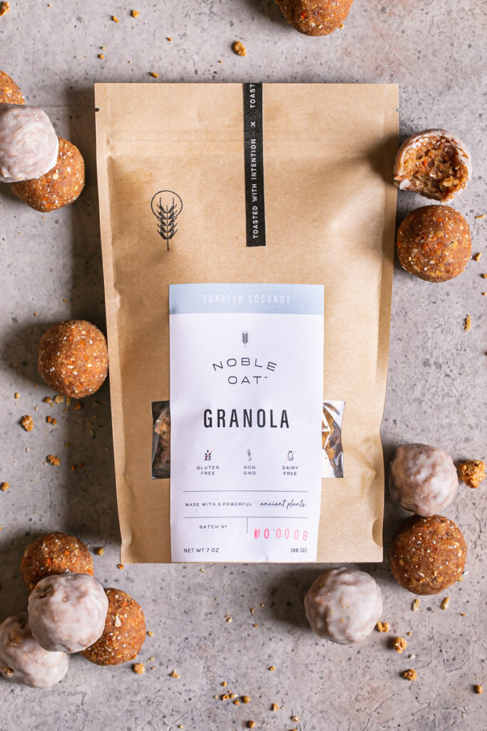 a bag of noble oat toasted coconut granola with no-bake carrot cake granola bites
