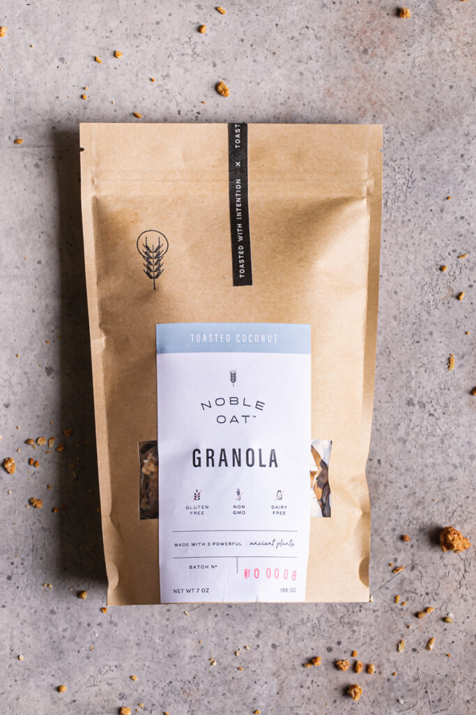 a bag of noble oat toasted coconut granola