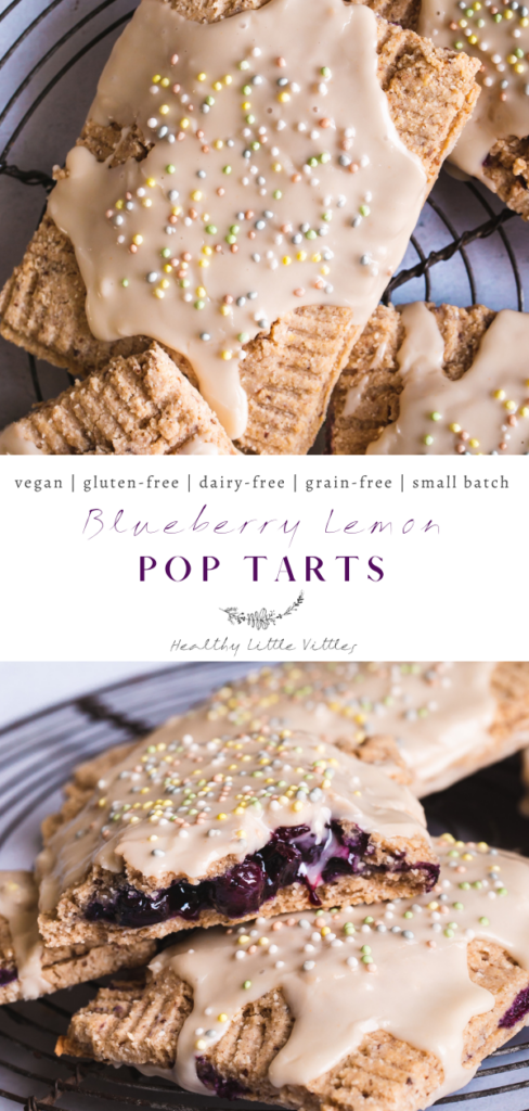 pinterest graphic of two photos of blueberry lemon pop tarts with the title of the recipe in the middle