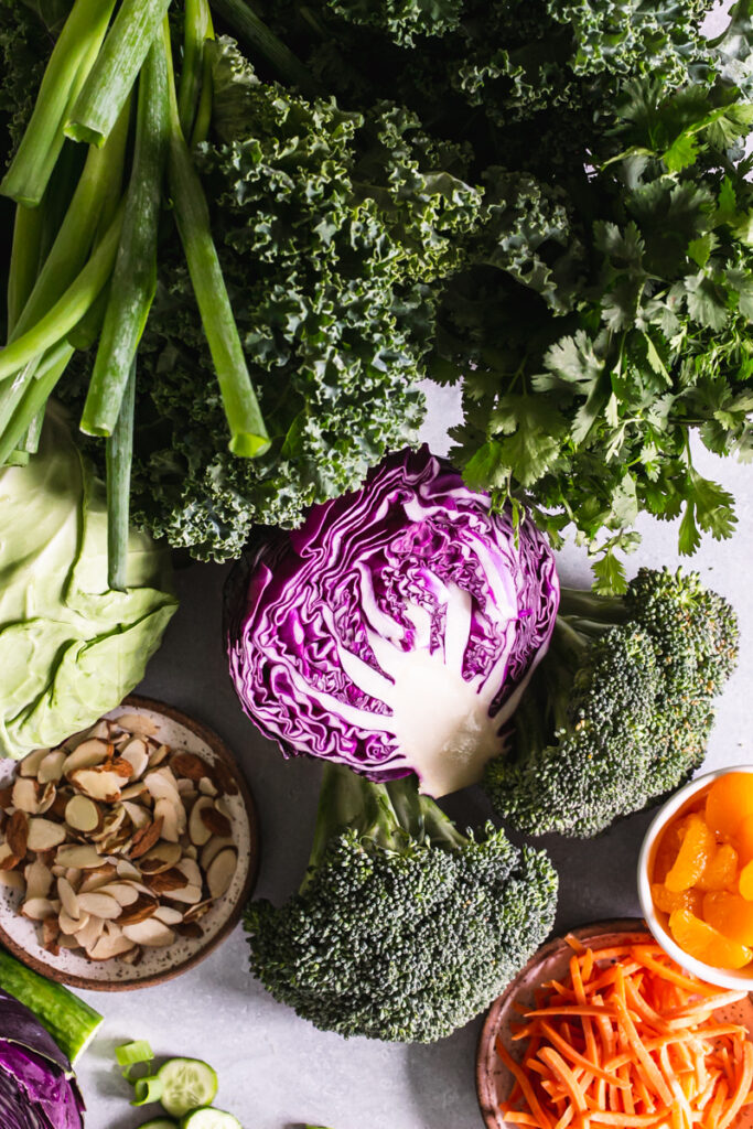 overhead photo of all of the fresh produce included in this Thai chopped salad recipe