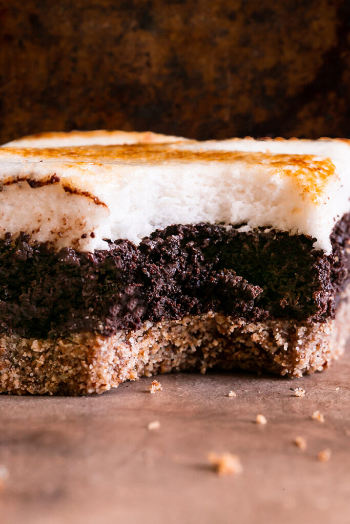 one s'mores brownies with a bite taken out of it